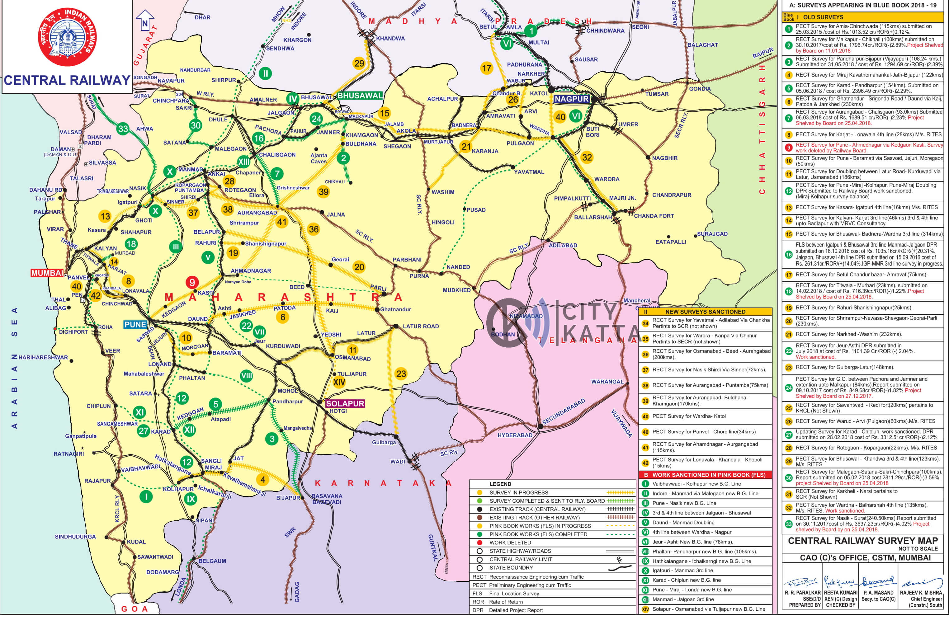 rail map of maharashtra Railway Board Sanctions Rect Survey Of New Railway Line From rail map of maharashtra