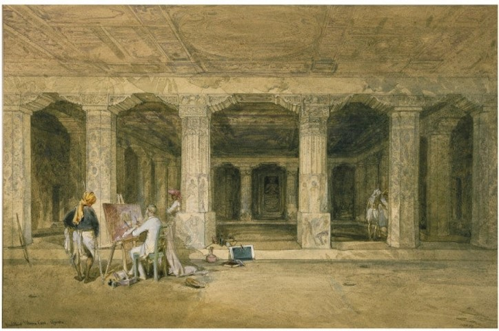 Painting by Simpson depicts fellow artist Major Robert Gill (1804-79) copying wall-paintings inside the Buddhist Vihara cave at Ajanta (January 1862)|British Library