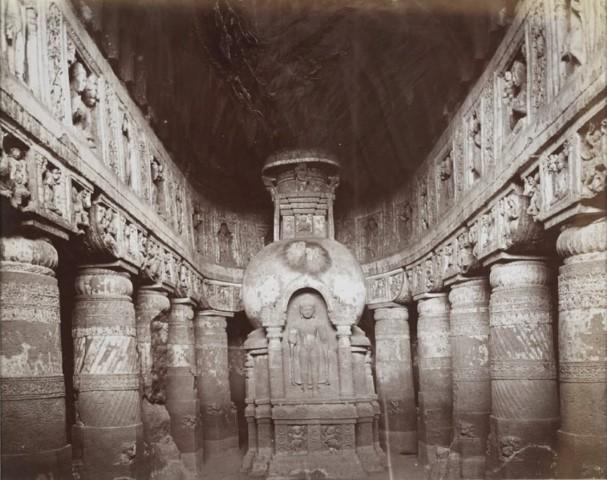 Interior of Cave XIX, Ajanta|British Library