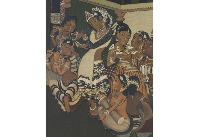Detail from Ajanta painting by Robert Gill|V&A Photographic Studio